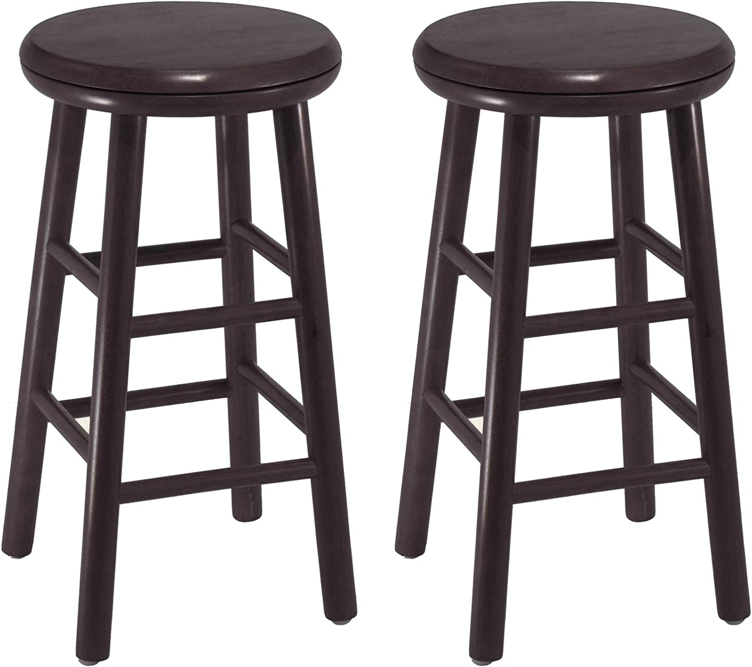 Winsome Wood 24-Inch Swivel Bar Stools, Dark Espresso Finish, Set of 2