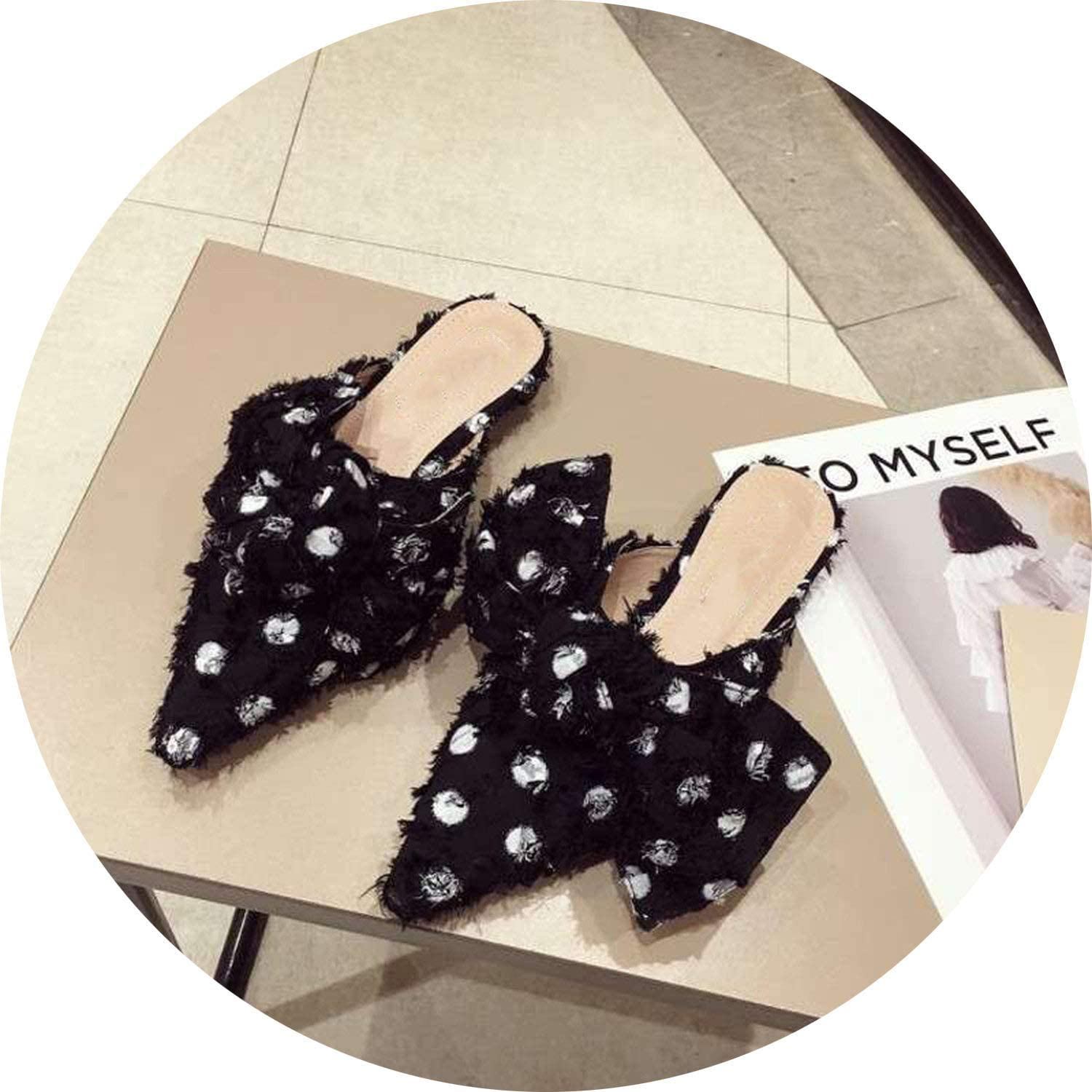 FINDYOU Polka Dot Mules shoes Women Slippers Small Heel Slides Fashion Bow-Knot Mules Pointed Toe shoes