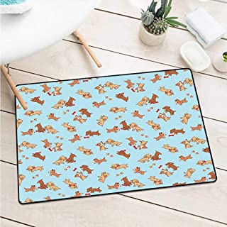 Wang Hai Chuan Dog Welcome Door mat Checkered Square Pattern Background Playful Puppies Paw Print Golden Retriever Breed Machine Washable Door mat W29.5 x L39.4 Inch Multicolor