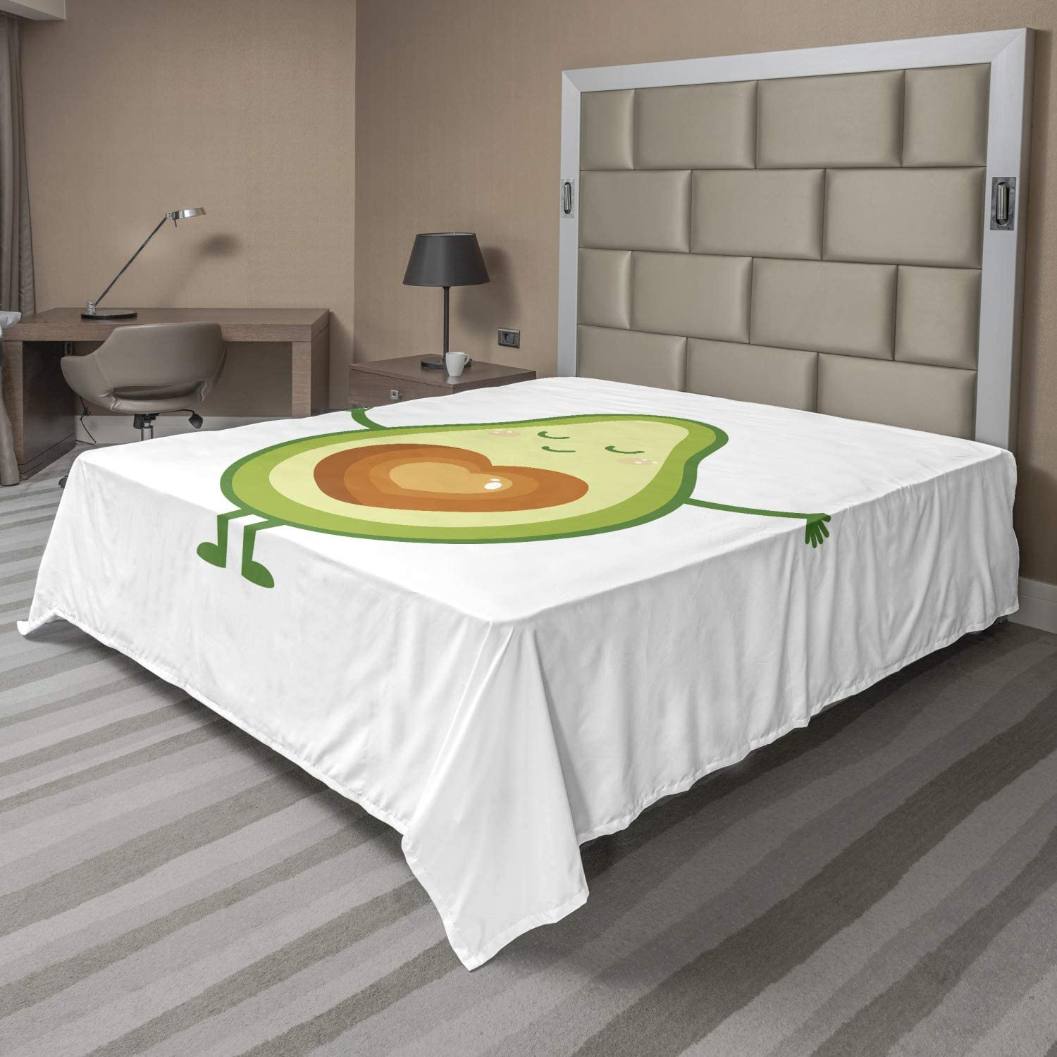 Lunarable Avocado Flat Sheet Character A surprise price is realized a Asking Product Smiling for Hug