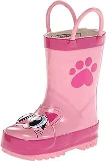 Western Chief Kids Girls' Waterproof Printed Rain Boot with Easy Pull on Handles, Khloe The Kitty, 12 M US Little Kid