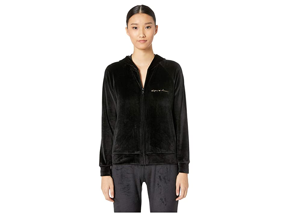 Emporio Armani Shiny Velvet Full Zip Jacket and Hood (Black) Women