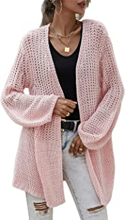 Greetuny Women Knit Cardigans Solid Color Hollow Out Crochet Long Sleeve Sweater Cardigan