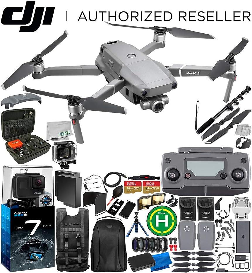 DJI Mavic 2 Zoom Drone Quadcopter with 24-48mm Optical Zoom Camera 128GB GoPro HERO7 2-Battery Bundle