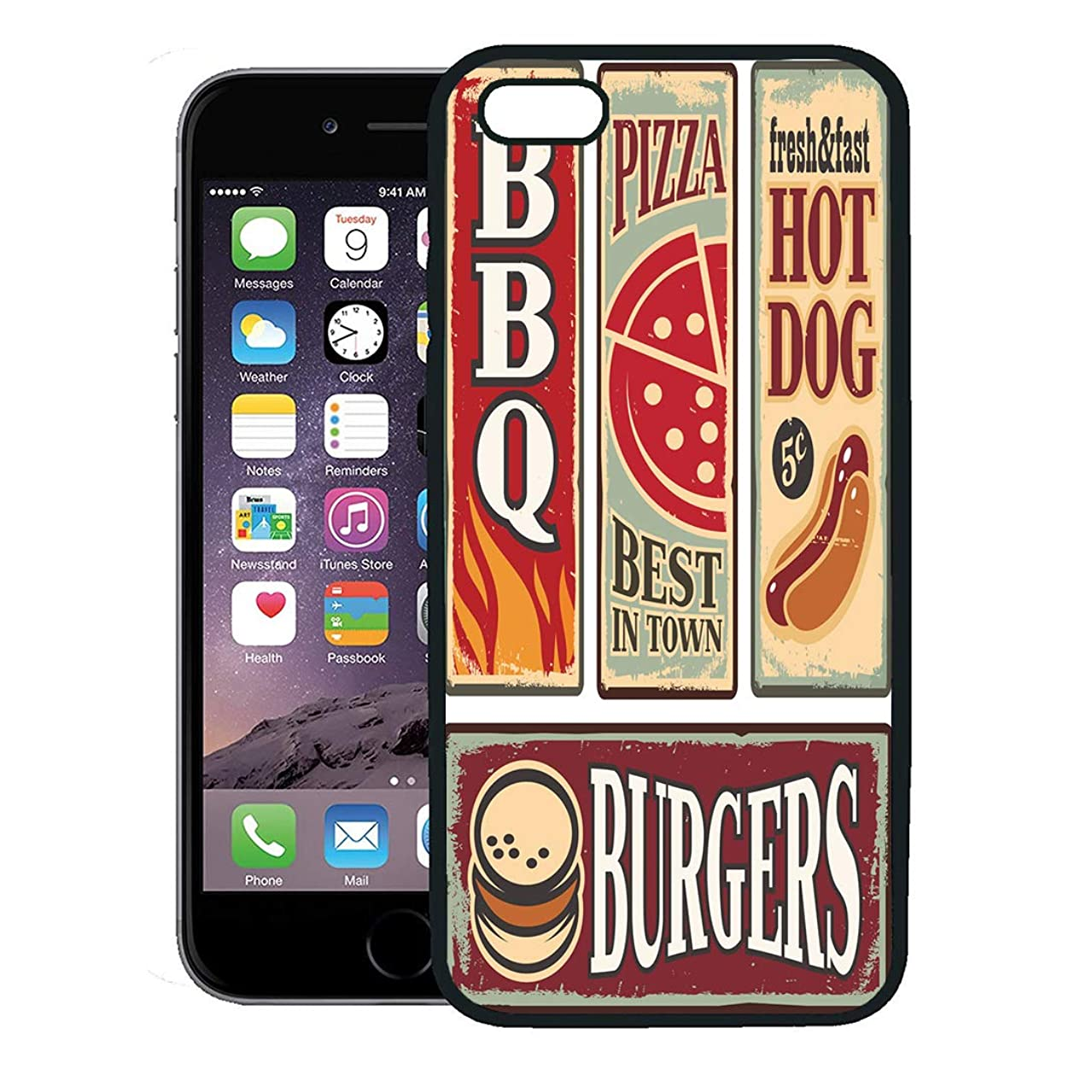 Semtomn Phone Case for iPhone 8 Plus case,Vintage Fast Food Tin Signs Retro Ads Collection Pizza Burger Hot Dog and Barbecue Delicious Snacks iPhone 7 Plus case Cover,Black