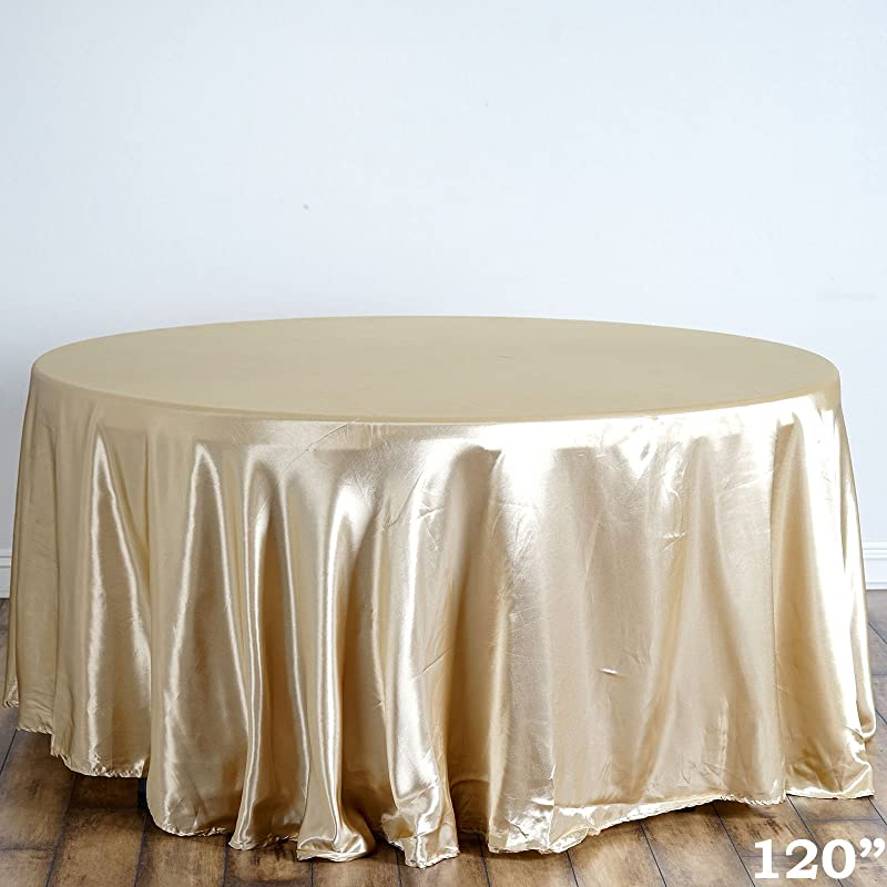 BalsaCircle 120 Inch Champagne Satin Round Tablecloth Table Cover Linens For Wedding Table Cloth Party Reception Events Kitchen Dining