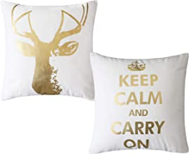 Home Brilliant Farmhouse Pillows Cases Decorative Pillow Covers with Quotes Keep Calm and Carry On Deer Gold Nordic Square Pillowcases for Office, 18x18 inch(45cm)