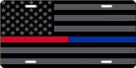 International Tie Diagonal Thin Blue Line Blue Lives Matter 304 Stainless Steel License Plate Frame
