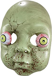 Plastic Zombie Baby Mask with Bulging Eyes, 9 Inch Green