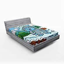 Ambesonne Bigfoot Fitted Sheet, Colorful Children Alphabet Letter Y for Yeti Illustration on Snowy Hills Pine Trees, Soft Decorative Fabric Bedding All-Round Elastic Pocket, Queen Size, Multicolor