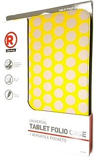 Radio Shack Universal Tablet Folio Case-Yellow/Gray Dots- Fits 9