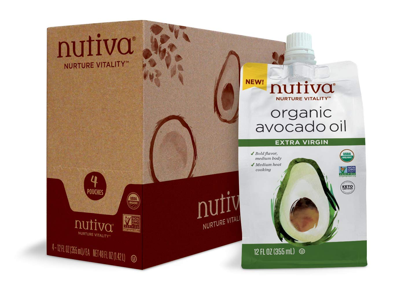 Nutiva Organic Avocado Oil Extra Virgin Oz Pack Max 43% OFF Fl 12 Pouch 4 Large-scale sale