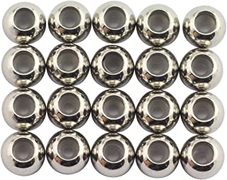Tegg 20pcs 6mm Stainless Steel Insert Rubber Stopper Positioning Spacer Beads for Bracelet Necklace DIY Crafts Making Jewelry Findings Accessories 4.7mm Hole 1.5mm Rubber Hole Flat Loose Beads Silver