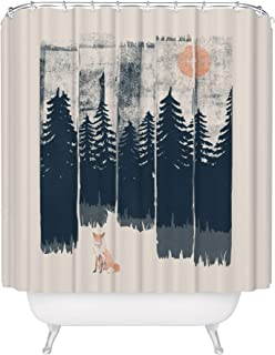 Fuzzy Ink Wilderness Fox Shower Curtain - Outdoor Nature Forest Trees Woods Wildlife Cabin Bathroom Decor, Hiking Camping Woodland Inspiration Mold Resistant Fabric Curtain