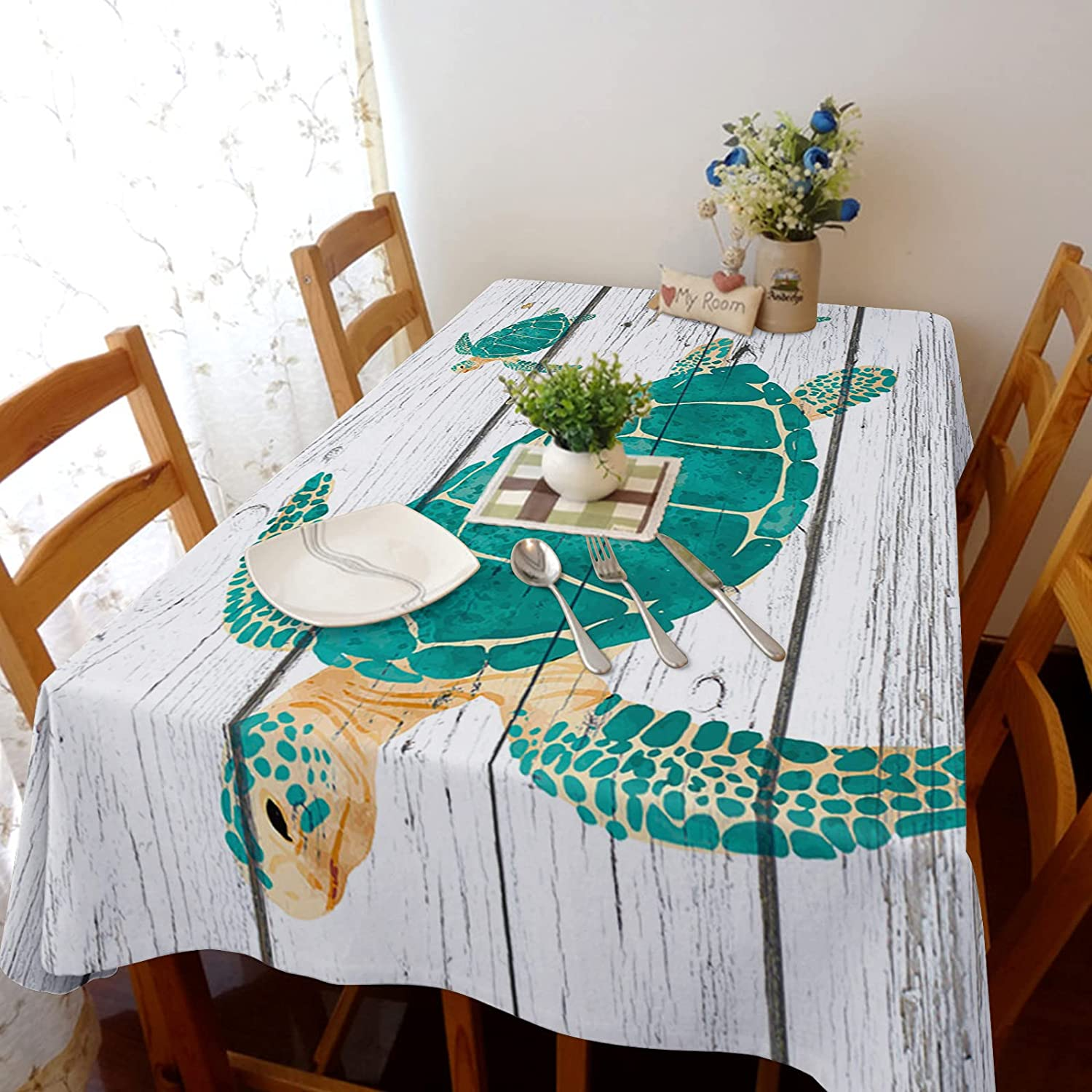 Rectangle Tablecloth Sea Cheap At the price Animals Turtles Retro Wood Line Cotton