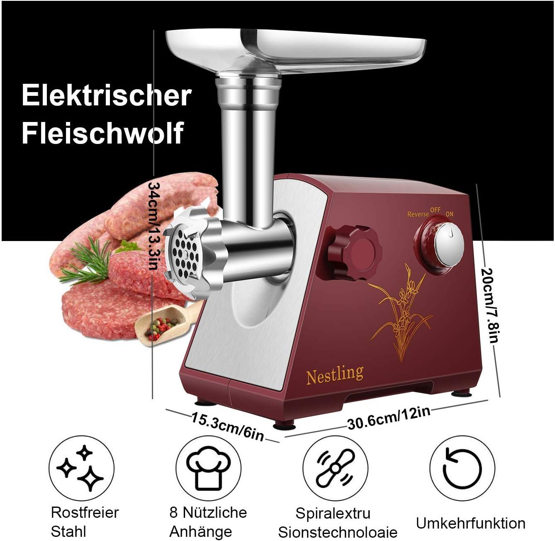 Nestling® 400W Elektrischer Fleischwolf, Edelstahl Fleischwolf & Wurstfüller Schneidplatten,Multifunktions Küchenmaschine Fleisch (Schwarz) Rot