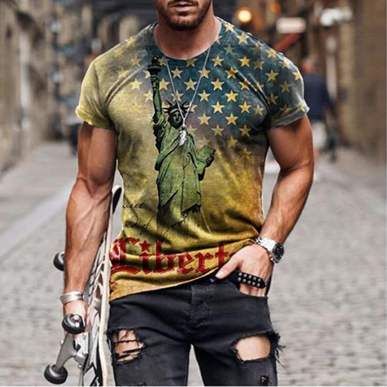 Mens Patriotic T-Shirts American USA Flag Short Sleeve Stylish Print Slim Fit Shirt Comfortable Leisure Tops