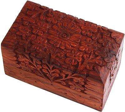 22,9 x 15,2 cm scatola per orologi portagioie ottima idea regalo per portagioie scatola portaoggetti portagioie Portagioie decorativo realizzato a mano in legno con intagli dettagliati