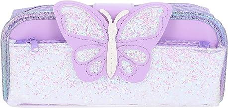 Cabilock Paarse Vlinder Etui Glitter Sequin Potlood Tas Grote Capaciteit Briefpapier Marker Pen Pouch Multi Gebruik Make- ...