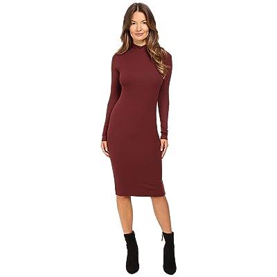 ATM Anthony Thomas Melillo Long Sleeve Mock Neck Dress (Rust) Women