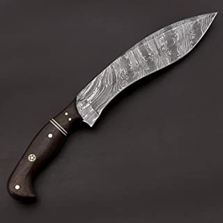 JNR Traders Handmade Damascus Steel Kukri Knife with Leather Sheath Weapon Utility Hunting Outdoor 12.00 Inches VK3068