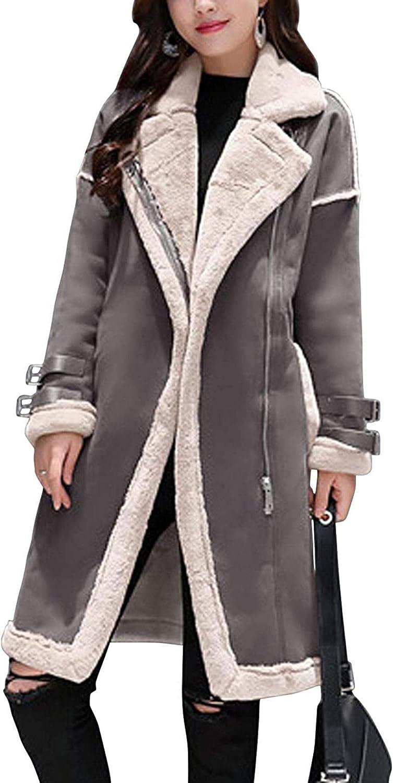 Women's Diagonal Zip Mid-Long Faux Shearing Suede Leather Moto Jacket Winter Coat