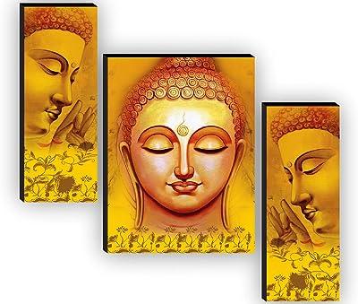 SAF Set of 3 Buddha Home Decorative Gift Item Self Adeshive UV Textured MDF Framed Painting 12 Inch X 18 Inch SAF-JM7706