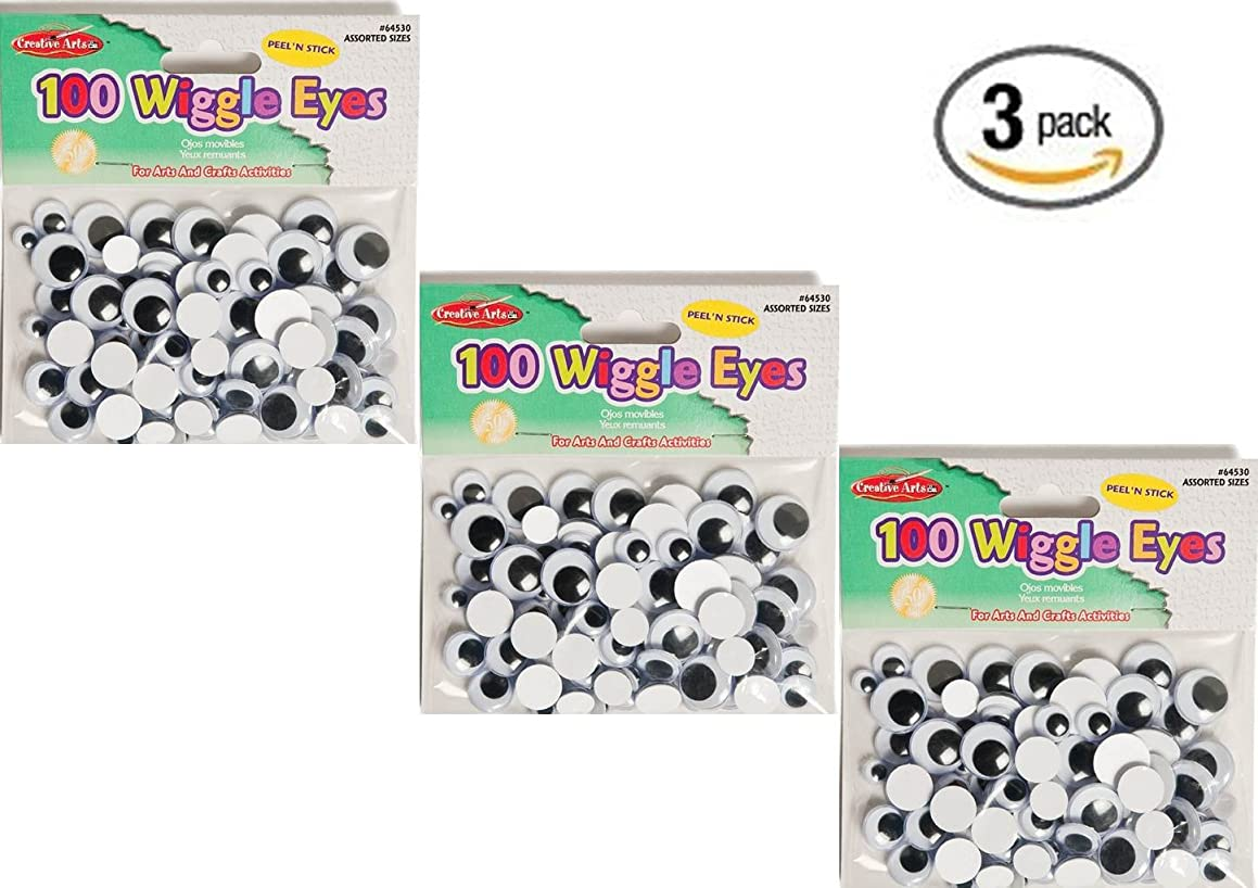 Set of 3 Creative Arts by Charles Leonard Wiggle Eyes, Peel'n Stick, Black, Assorted Sizes, 100/Bag (64530)