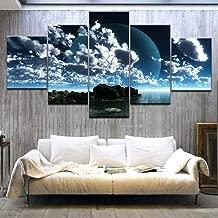 لوحة فنية قماشية مطبوعة بتقنية عالية الدقة من 5 طبقات من الشعاب البحرية والسماء الزرقاء والسحاب البيضاء لتزيين غرفة المعيشة، مع إطار