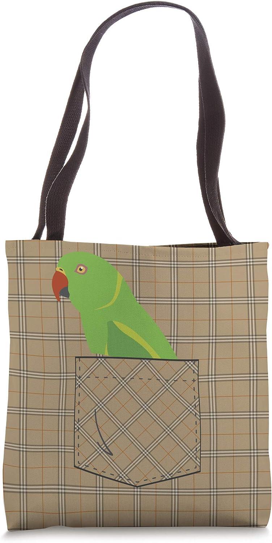 Indian Ringneck Parakeet Parrot Fake Pocket Tote Bag