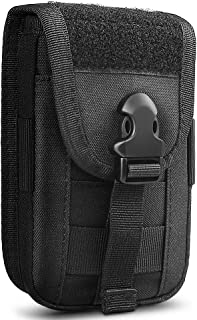 Tactical Phone Holster Pouch Molle Smartphone Bag Men Belt Waist Bag Utility Gadget Gear Tool Organizer Pocket Military EDC Carry Pack with Card Slots (S-Black (3.7