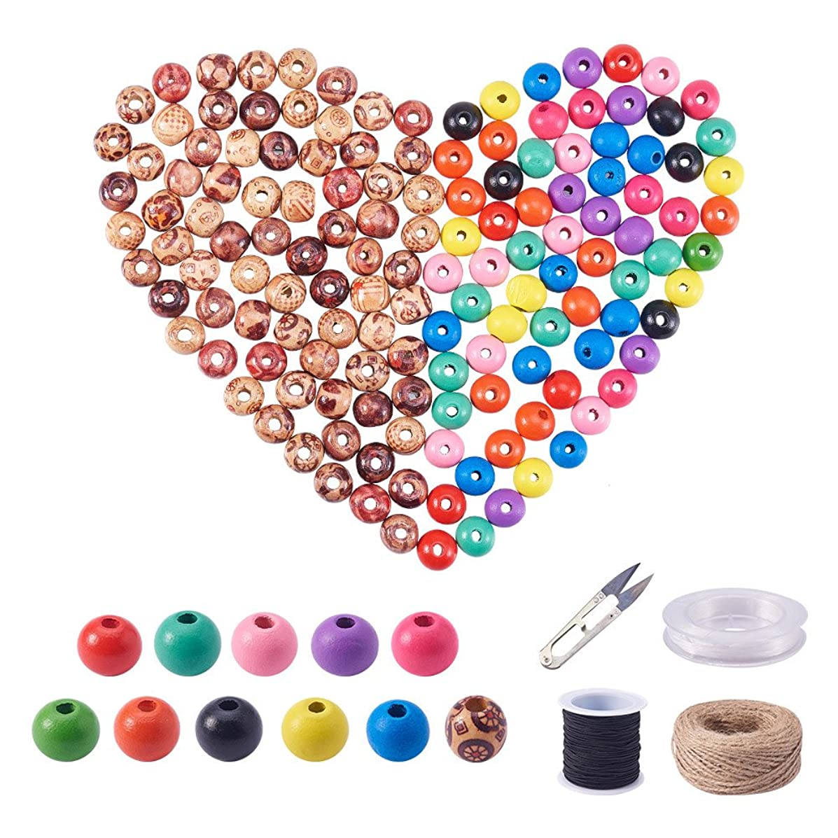NBEADS 300pcs Assorted Color Round Wooden Beads Wood Beads 10mm 13mm for DIY Jewelry Making with Black Elastic Cord, Hemp Cord, Sharp Steel Scissors, Elastic Wire, Mixed Color, 13.5x7x3cm