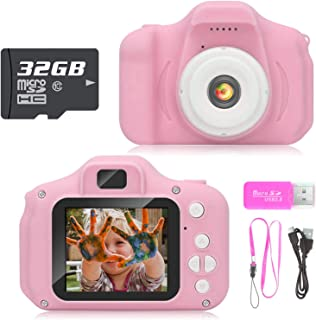 Hachi's Choice Gift Kids Camera Toys for 3-9 Year Old Girls, Compact Cameras for Children,Best Birthday Festival Gift for 4-8 Year Old Girl,Pink(32G SD Card Included)