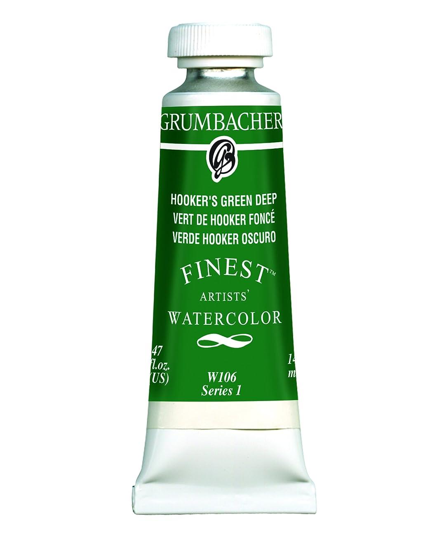 Grumbacher Finest Watercolor Paint, 14 ml/0.47 oz, Hookers Green Deep