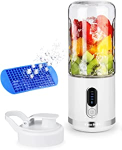 DmofwHi Portable Blender 15oz with Ice Tray, USB-C Rechargeable Personal Mini Blender for Shakes and Smoothies, Wireless Juicer Cup for Travel - White