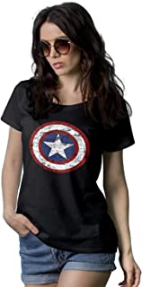 Womens Black America Shield Shirt - Superhero Graphic Tees for Women