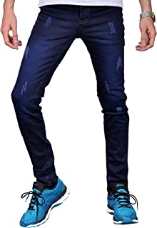 Trousers-secratched jeans for men - dark blue