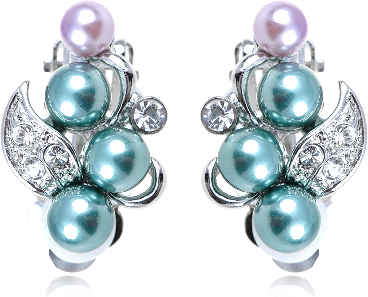 Alilang Max 56% OFF Simple Green Purple Faux Cryst Pearls Tone Enamel Trust Silver