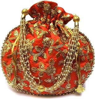 ACT OF CRAFT Velvet Potli | Wristlets Ethnic Potli For Women's | Designer Rajasthani Style Royal Clutch Silk Batwa Bag | Z...