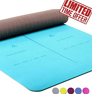Heathyoga Eco Friendly Non Slip Yoga Mat, Body Alignment System, SGS Certified TPE Material - Textured Non Slip Surface and Optimal Cushioning,72