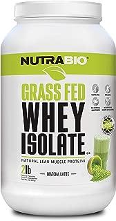 NutraBio Grass Fed Whey Isolate (Matcha Latte, 2 Pounds)