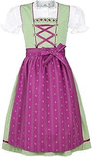 Isar-Trachten Mädchen Kinderdirndl grün Beere mit Bluse, GRÜN, 80