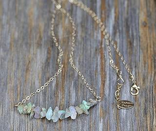 Genuine Raw Rough White Opal Gemstone Bar Necklace- October Birthstone Gift Idea