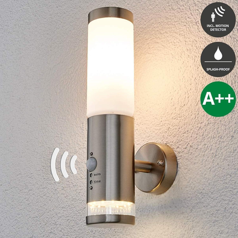 Lampenwelt Wandleuchte auen 'Binka' mit Bewegungsmelder (spritzwassergeschützt) (Modern) in Alu aus Edelstahl (1 flammig, E27, A++) - Auenlampe, Wandlampe für Outdoor & Garten Auenwand Hauswand