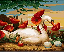 Paint by Numbers DIY Painting Acrylic Red Flower and Swan for Adult Home Wall Living Room Bedroom Decoration