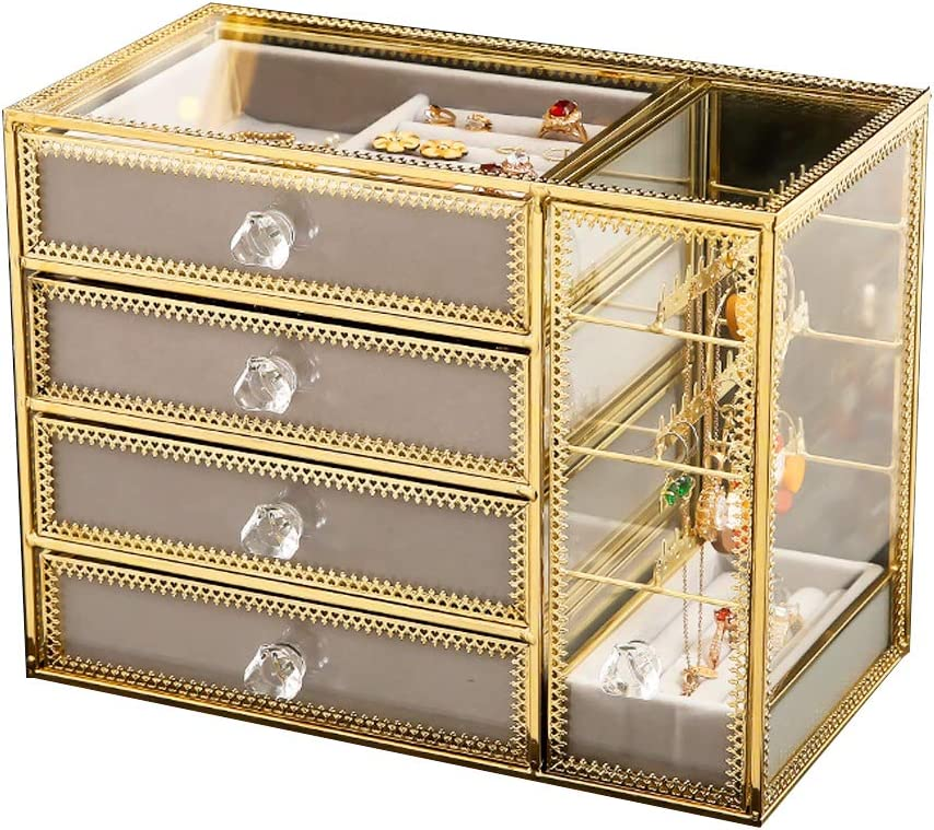 Sacramento Mall MOOCHI Golden Brass Vintage Glass 4 Ear Jewelry with Box Drawers Online limited product