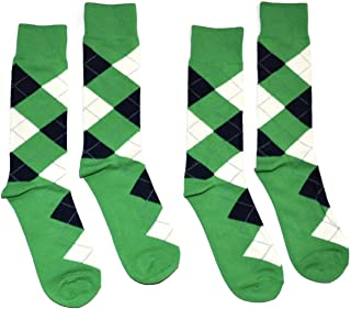 Bop Classy Men's Dress Crew Socks Argyle Pattern 2 Pair Set - Premium Cotton