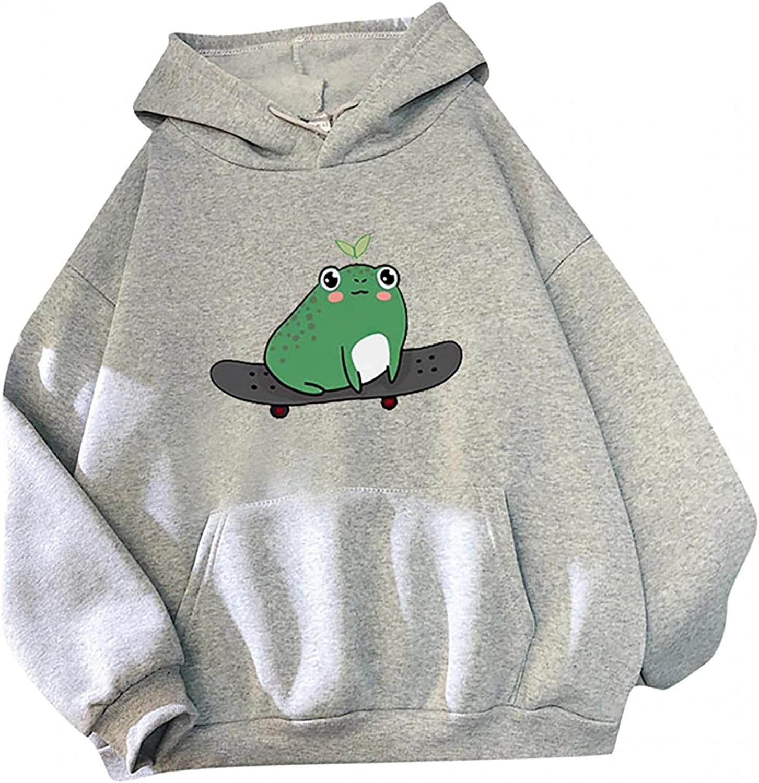ONHUON Sweatshirts for Women, Womens Girl Cute Frog Print Long Sleeve Hoodie Sweatshirt Pullover Blouse Tops with Pocket