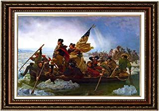 Eliteart- Washington Crossing the Delaware By Emanuel Gottlieb Leutze Oil Painting Reproduction Giclee Wall Art Canvas Prints-Framed Size:26