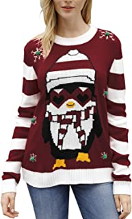 Sovoyontee Women Ugly Cute Christmas Sweater Long Sleeve Knit